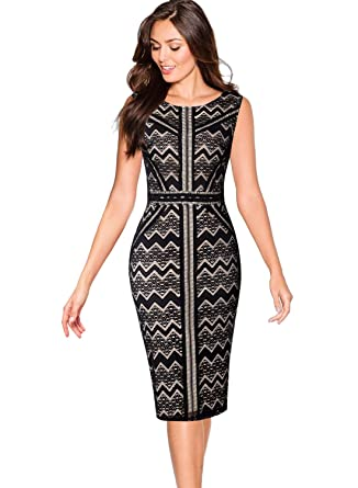 cfb5e22ece0a VFSHOW Womens Black and Beige Chevron Zig Zag Floral Lace Cocktail Party  Bodycon Sheath Dress 2079