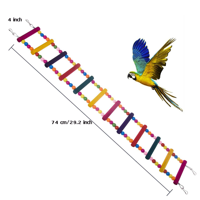 SZBOYU Bird Toys for Parrot Ladder, Swing, Trainning Rainbow Bridge for Parrots African Grey Parakeets Conures Cockatiels Cokatoo Lovebirds