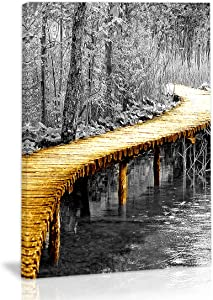 Black And White Golden Tree Leaf Bridge River Wall Art Decor Canvas Painting Kitchen Prints Pictures For Home Living Dining Room