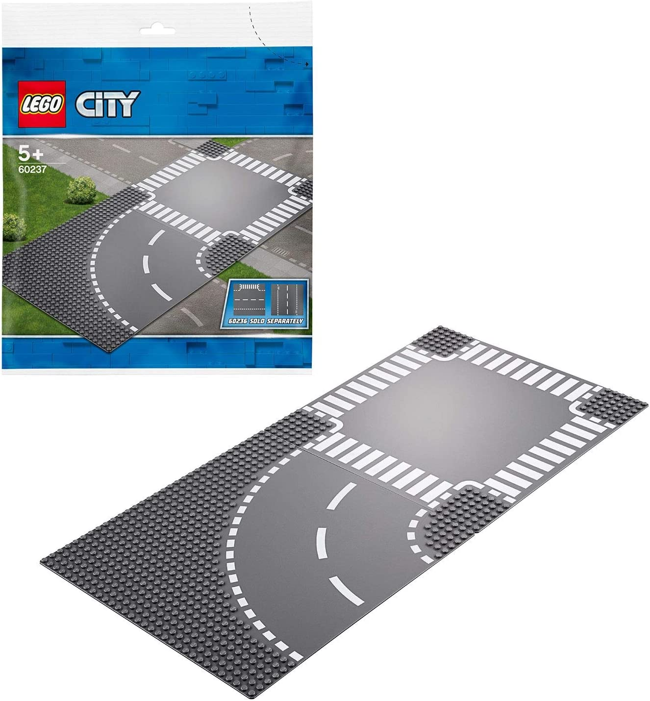 LEGO City Suplementario - Curvas y Cruce, juguete de pista de carretera complementario para tu ciudad LEGO (60237)