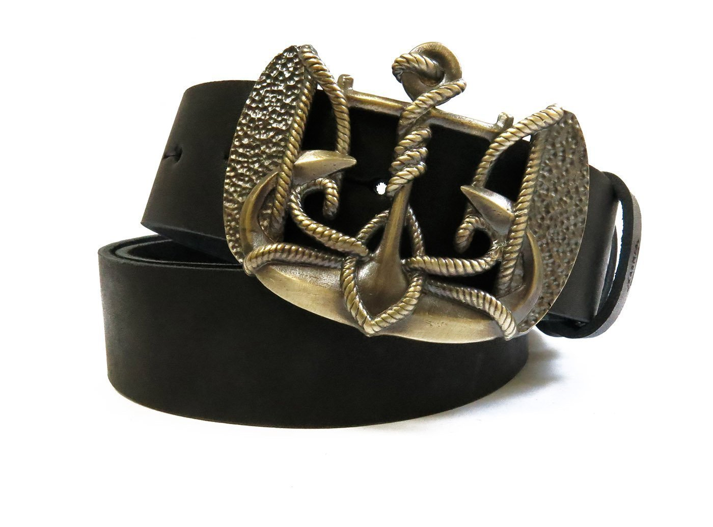 "Marine Buckle ""Anchor Trident"" on a Genuine Leather Belt"