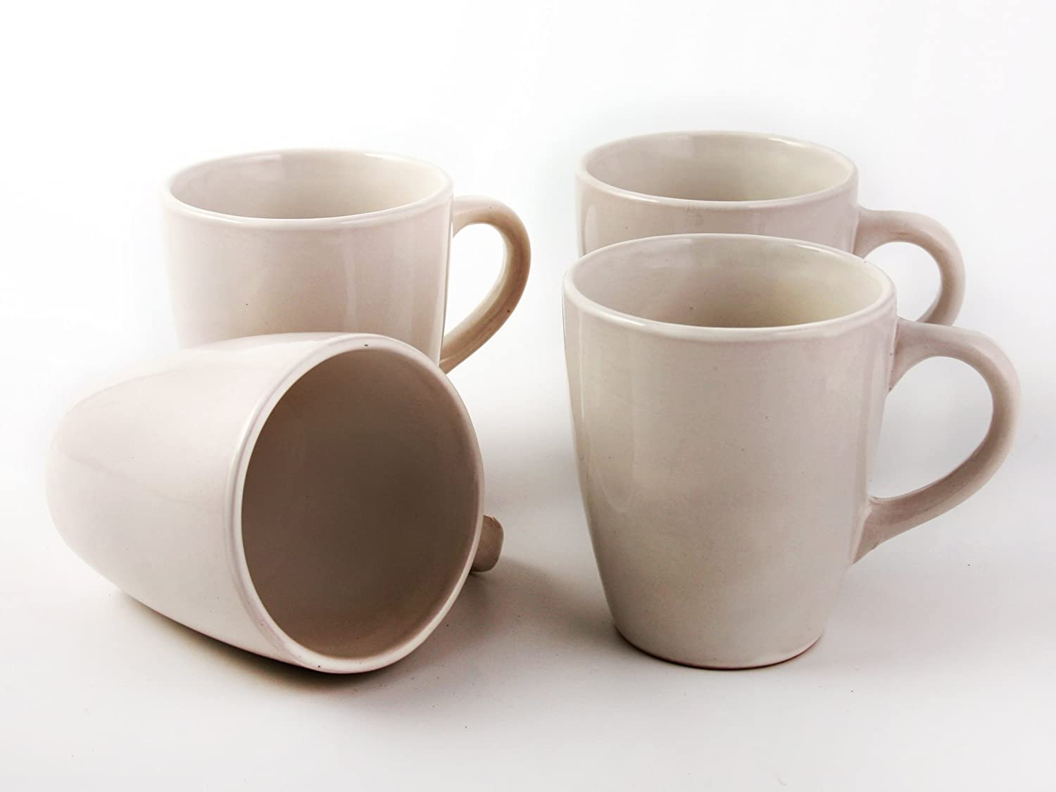 4 Gorgeous Large Ceramic Specialty Coffee Mugs with Espresso Cappuccino Designs