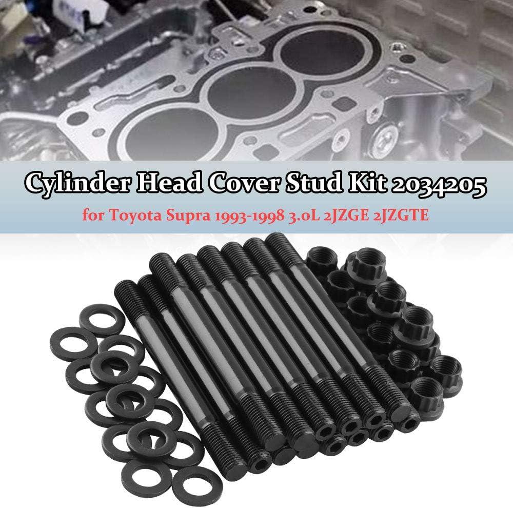 Ruien Car Cylinder Head Cover Stud Kit 2034205 Black for Toyota Supra 1993-1998 3.0L 2JZGE 2JZGTE