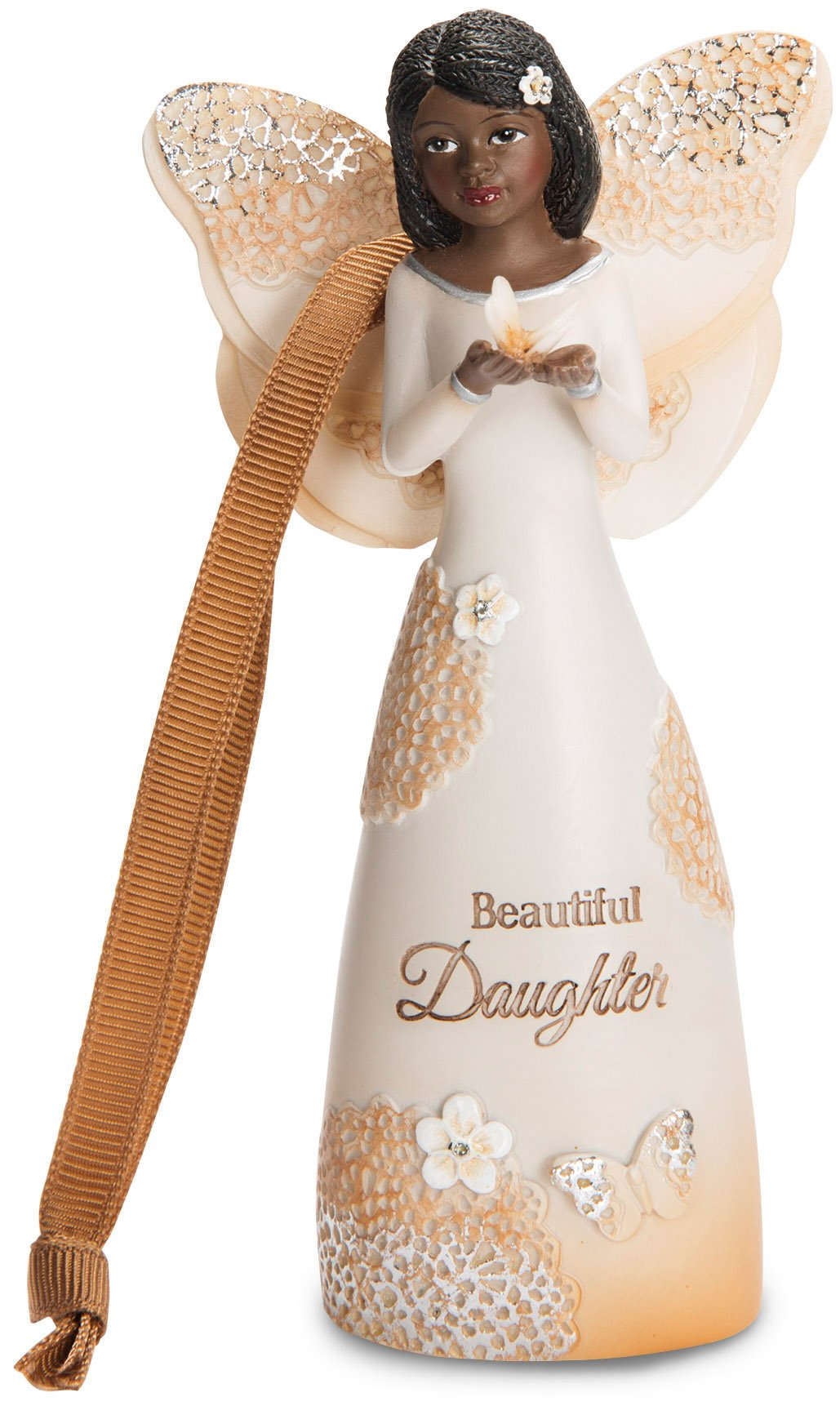 Pavilion Gift Company 19121 Light Your Way Everyday Daughter Ebony Angel Figurine/Ornament, 4-1/2'' by Pavilion Gift Company