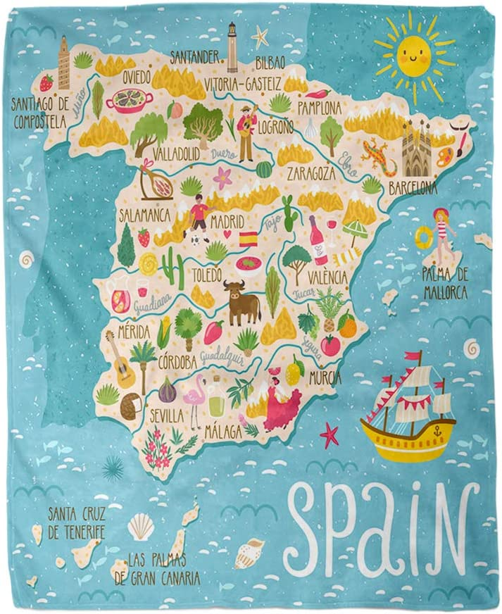 rouihot 60x80 Inches Throw Blanket Map of Spain Travel Spanish Landmarks People Food Warm Cozy Print Flannel Home Decor Comfortable Blanket for Couch Sofa Bed