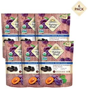 ORGANIC Prunes - Sunny Fruit - (6 Bags) - (5) 1.06oz Portion Packs per Bag   Purely Dried Plums - NO Added Sugars, Sulfurs or Preservatives   NON-GMO, VEGAN & HALAL