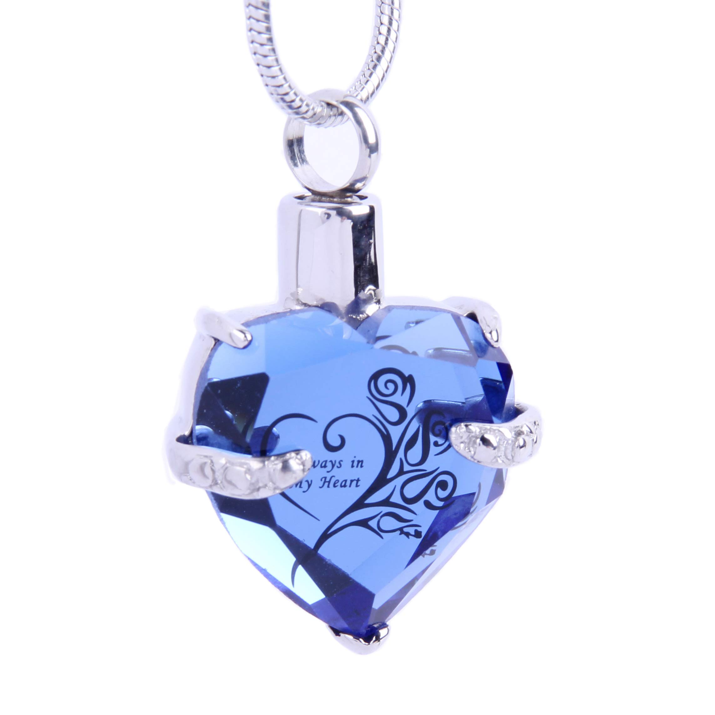 Cremation Jewelry for Ashes Always in My Heart Glass Urn Pendant Necklace +21''Snake Chain (A-Blue)