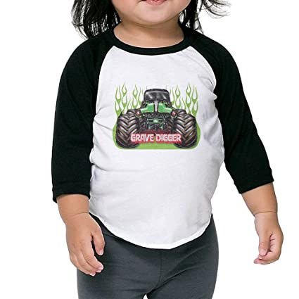 2497df501 Amazon.com : Kid's Cute Grave Digger Monster Truck 3/4 Raglan Sleeves  Baseball Tee Shirt Jersey For Boys And Girls Age Of 2 - 6 Years Old Black 4  Toddler ...