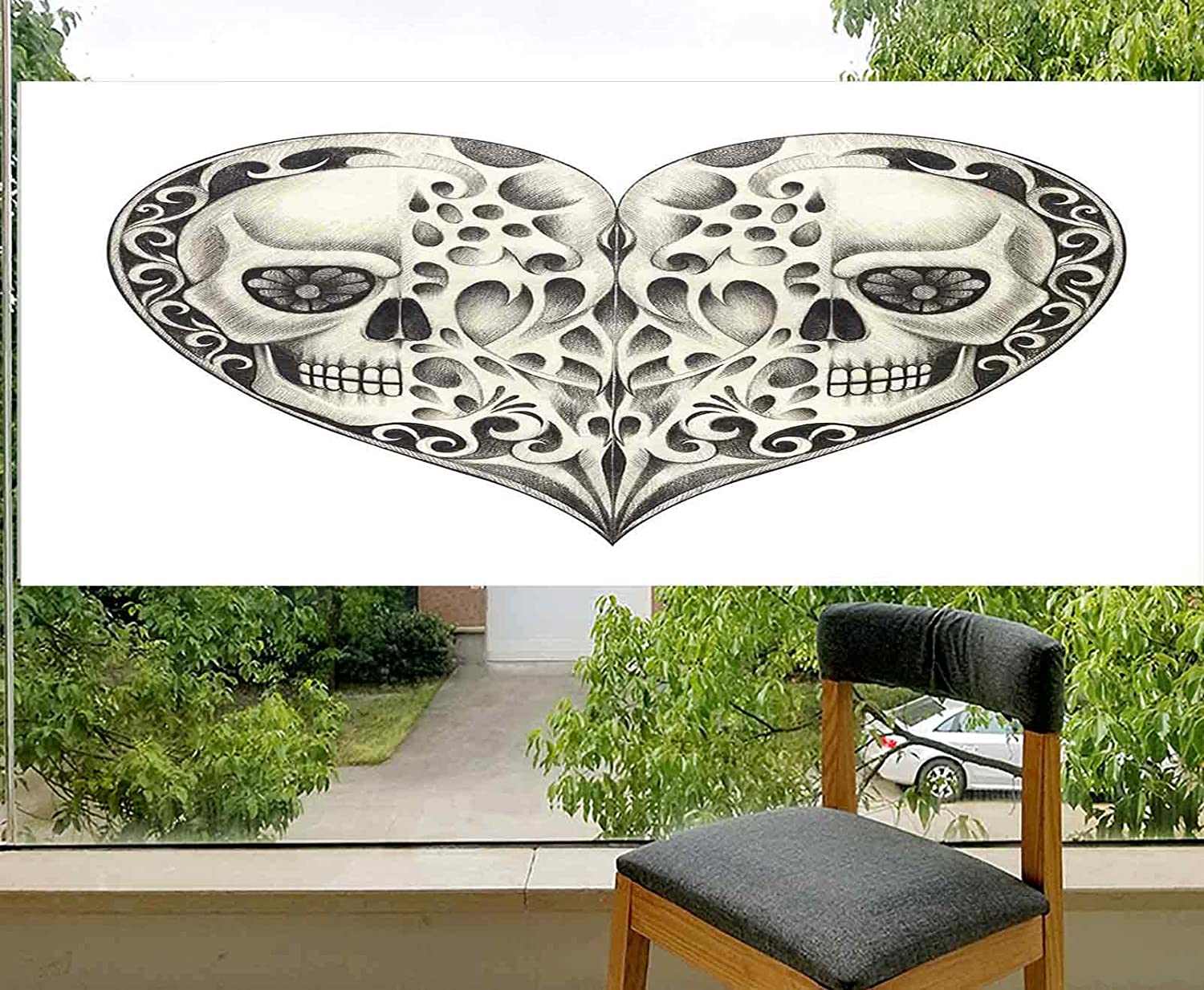 LCGGDB No-Glue Static Decorative Privacy Window Films,Twin Half Fire Design in Hearts Festive Spanish Image Print Glass Films for Home Office Meeting Room Classroom,36x18,Cream and Black