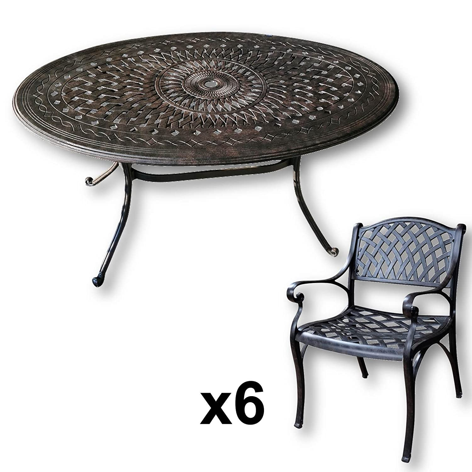 lazy susan emily 150 x 95 cm ovaler gartentisch mit 6 st hlen gartenm bel set aus metall. Black Bedroom Furniture Sets. Home Design Ideas