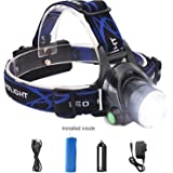LED Headlights Lamp Flashlight - 800 LM Brightest Head flashlight - 90º Adjustable Zoomable Rechargeable Detachable 3 Modes Head Torch - Battery Powered for Hiking Fishing Riding Reading etc BY LETMY