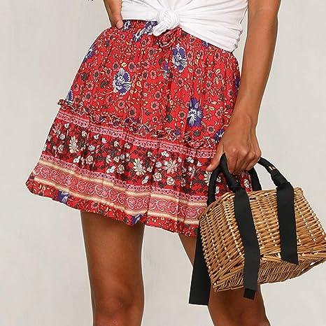 QBXDQ Falda Corta Falda Roja para Mujer Faldas Florales Mini Falda ...