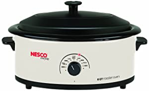 NESCO 4816-14, Roaster Oven with Porcelain Cookwell, White, 6 quart, 750 watts