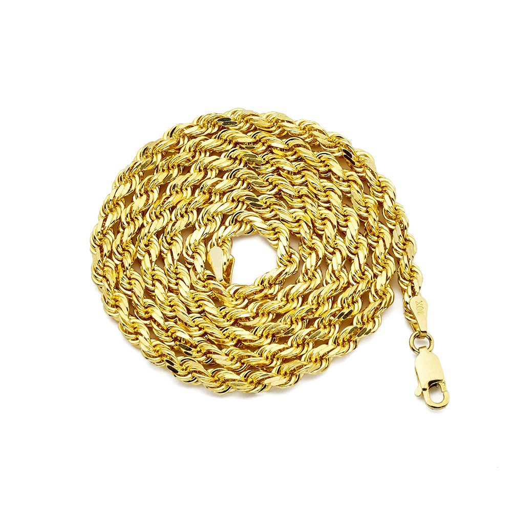 LoveBling 10K Yellow Gold 4mm 18'' Diamond Cut Rope Chain Necklace with Lobster Lock