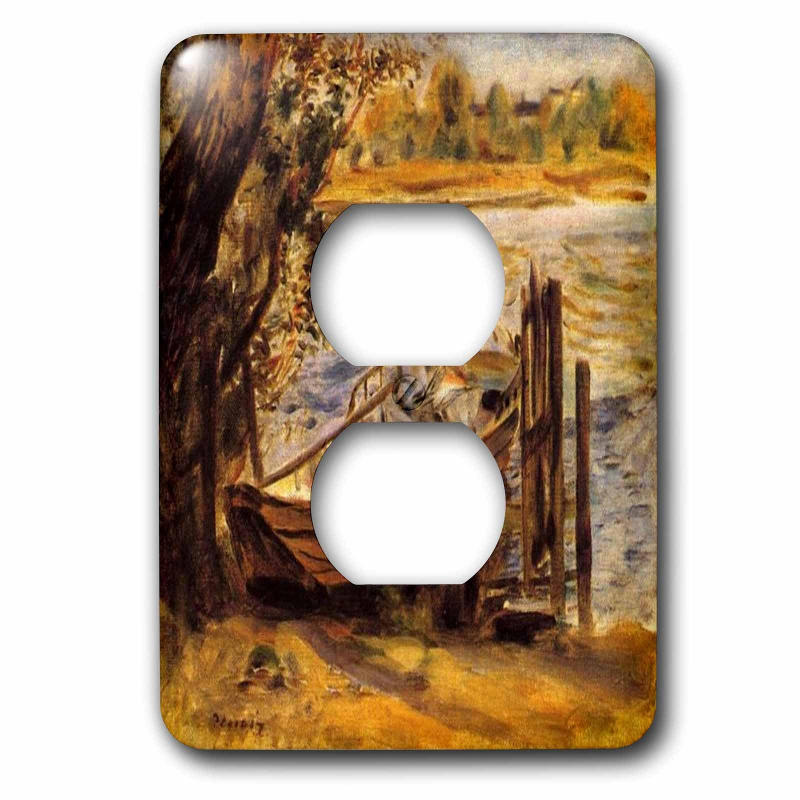 Florene Renoir Paintings - Image of Renoir Young woman In A Boat - Light Switch Covers - 2 plug outlet cover (lsp_243820_6)