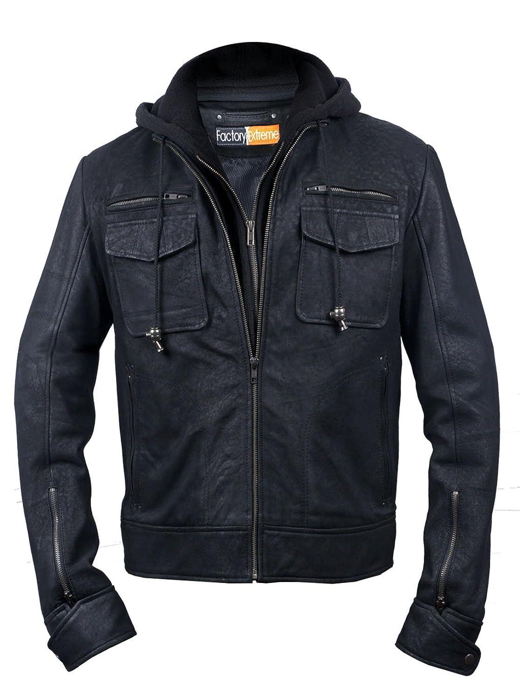 FactoryExtreme Pressido Mens Black Hoodie Biker Leather Jacket