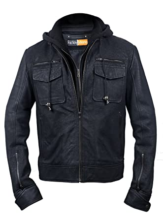 07ce6571d41 FactoryExtreme FE Presi Hooded Black Distressed Biker Leather Jacket Men  with Detachable Hoodie at Amazon Men s Clothing store  Sports Fan Outerwear  Jackets