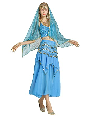 3521fb18f6 Zengbang Ladies Belly Dance Indian Dance Performance Costume Skirt Set Crop  Top Camisole Lake Blue(