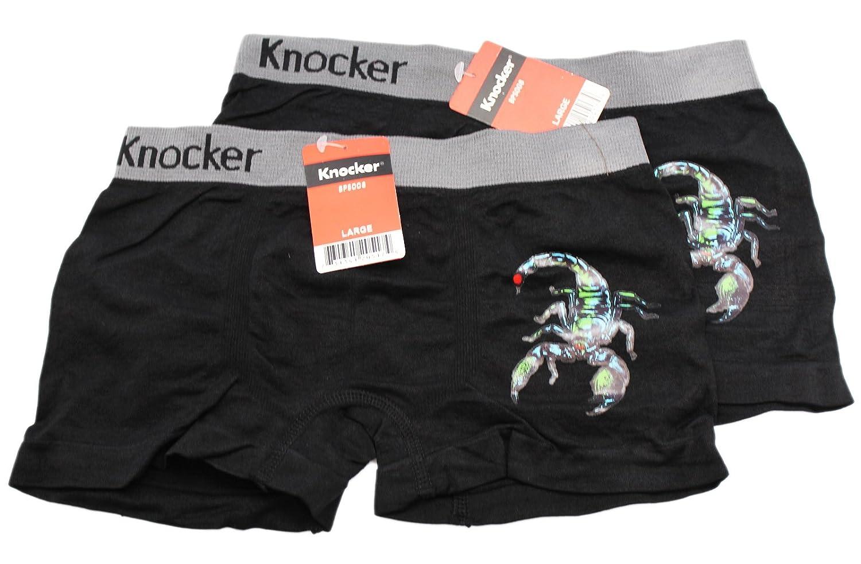 2 Piece Black Colored Scorpion Boxer Briefs by Knocker Boys Large