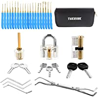 TAKRINK 35 Pcs Lock Pick Set Lock Picking Kit with 3 Transparent Practice Training Padlock 7 Keys and a Carrying Bag