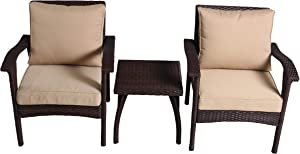 Christopher Knight Home Honolulu PE Club Chairs and Accent Table Set, 3-Pcs Set, Brown