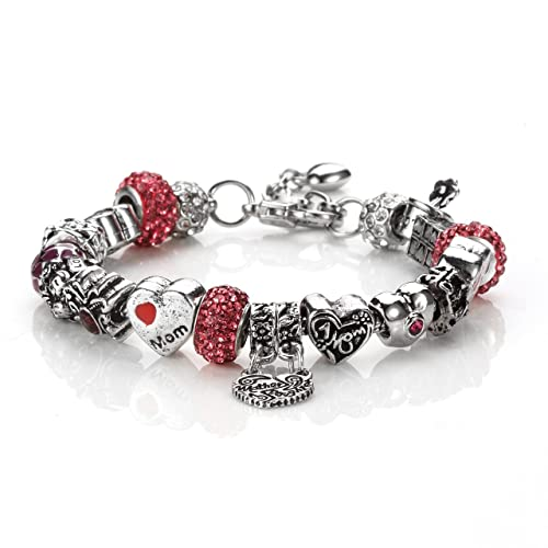 74a6dde3e1082 NOVADAB Mother Love Charm Chain Bracelet, Silver Maroon Toned Beads  Bracelet for Mothers Day Love Gifts