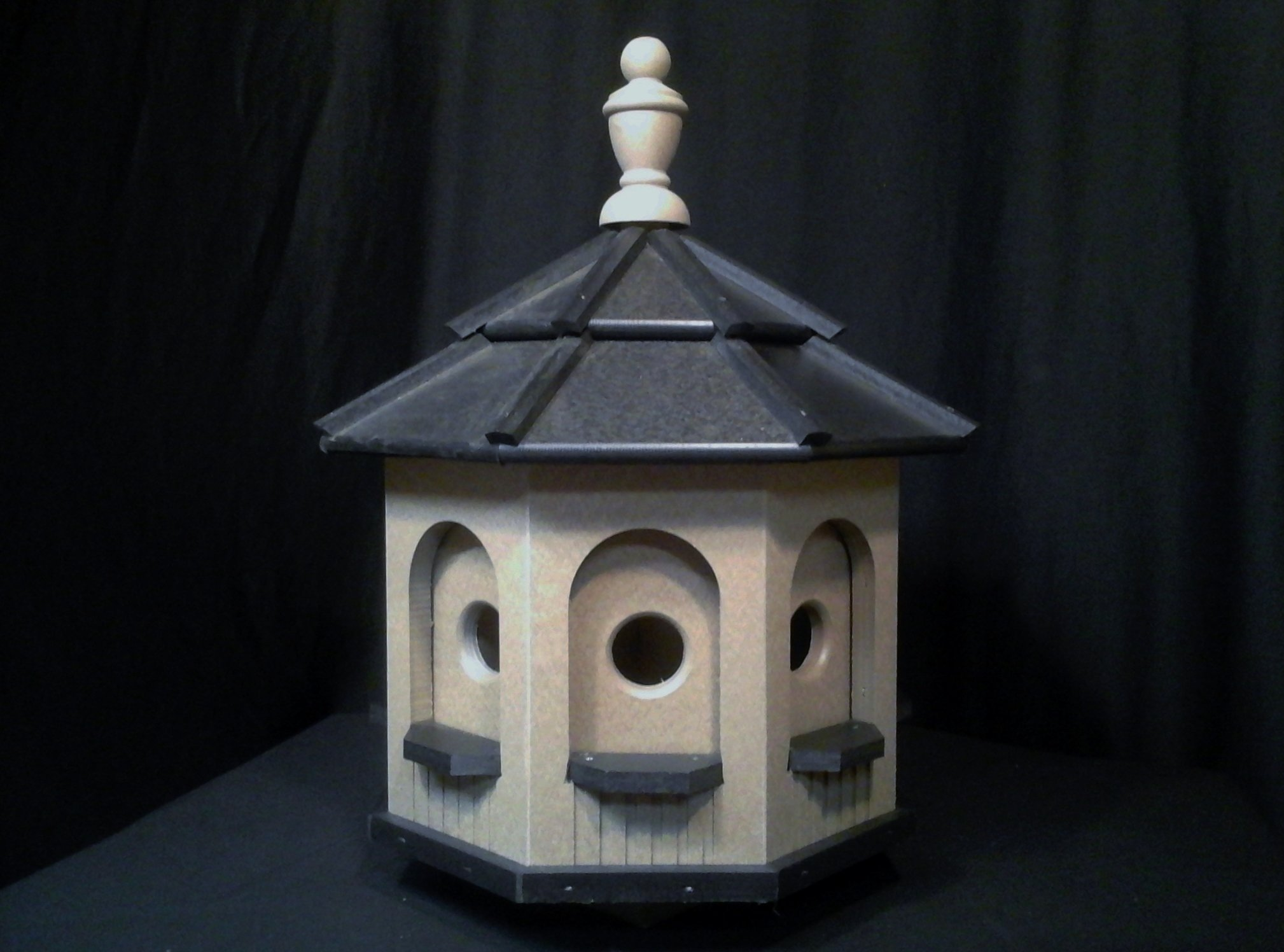 Medium Vinyl Birdhouse Amish Homemade Handmade Handcrafted Clay & Black