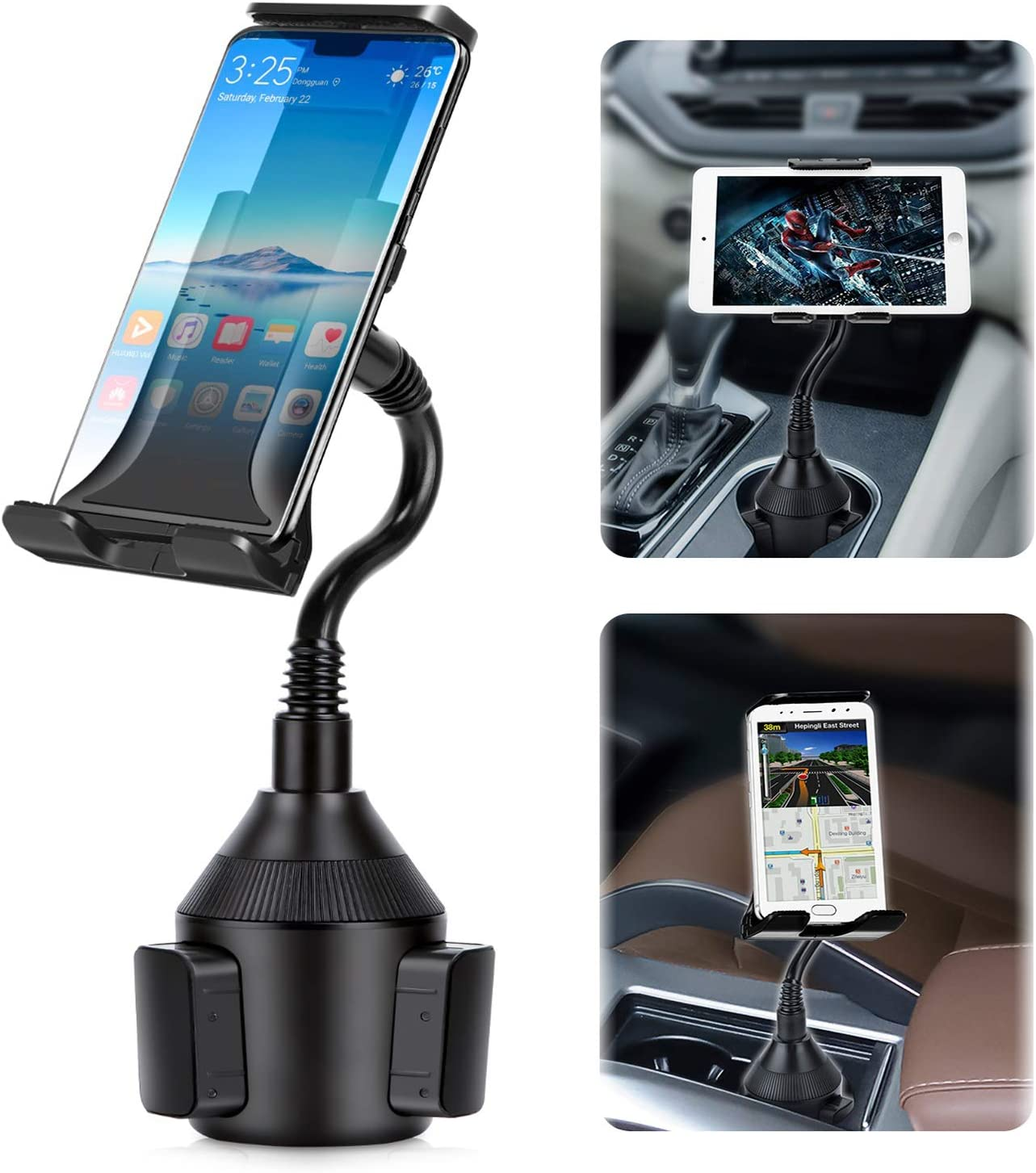 Car Cup Holder Phone//Cup Holder Tablet Holder//Smartphone Mount 2-in-1 Universal Smarts Adjustable cupholder ipad Mount for iPhone,iPad Pro10.5//Sony Samsung Galaxy Tab//iPhone 11 XR PRO X 8 Plus