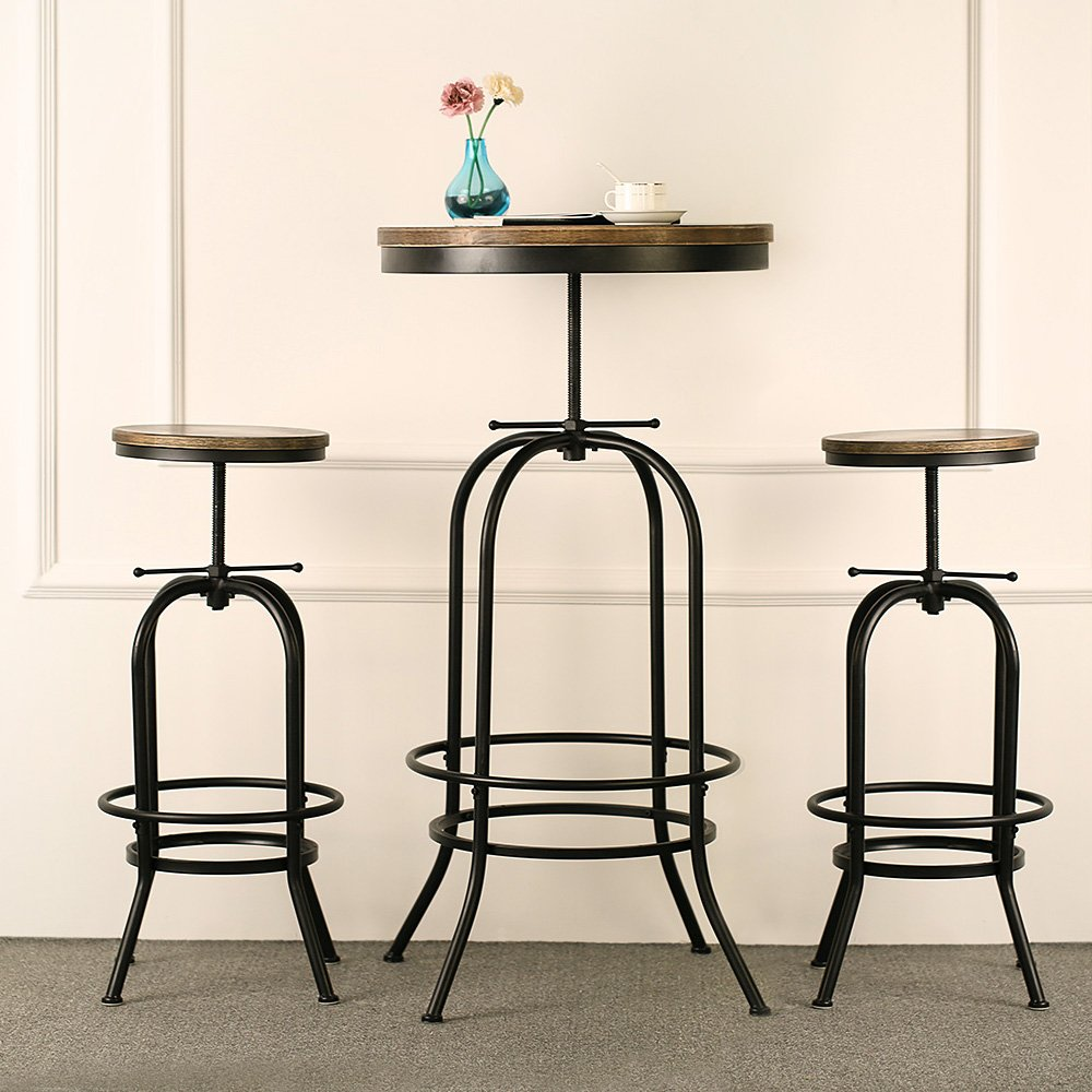 IKAYAA Bar Table Set Pub Bistro Table Chair Set Kitchen Dining Breakfast Coffee Table Set Adjustable Industrial Style Swivel Natural Pinewood Amazon.co.uk ...  sc 1 st  Amazon UK & IKAYAA Bar Table Set Pub Bistro Table Chair Set Kitchen Dining ...