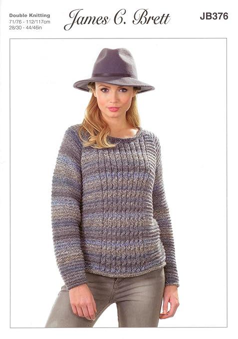 36906a8f4 James C Brett JB376 Knitting Pattern Ladies Sweater in Marble DK   Amazon.co.uk  Kitchen   Home