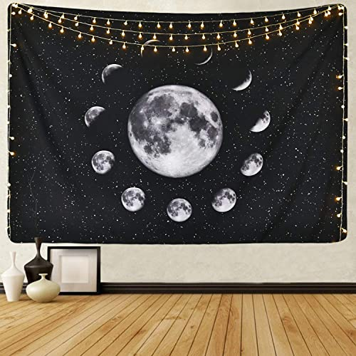 Sevenstars Moon Tapestry Moon Eclipse Tapestry Moon Phase Change Tapestry Starry Night Sky Tapestry Out Space Tapestry Galaxy Stars Tapestry for Living Room Bedroom