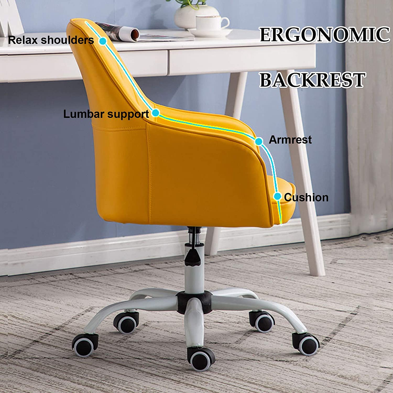 LIYIN PU-läder svängbar skrivbord uppgift stol justerbar höjd med armstöd och tysta underlägg för hemmakontor studierum, 96 kg kapacitet kaki