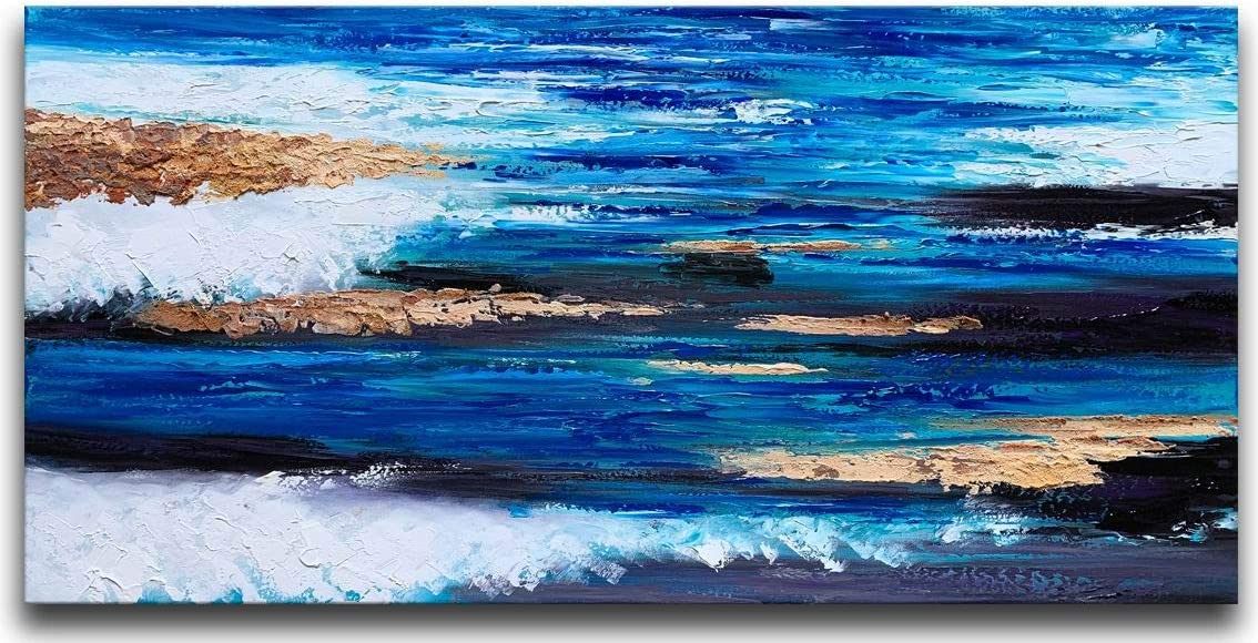 MyArton Large Abstract Canvas Wall Art Pure Handmade Textured Painting with Dark Blue Beach Style Ready to Hang for Home and Office Decoration 60x30inch