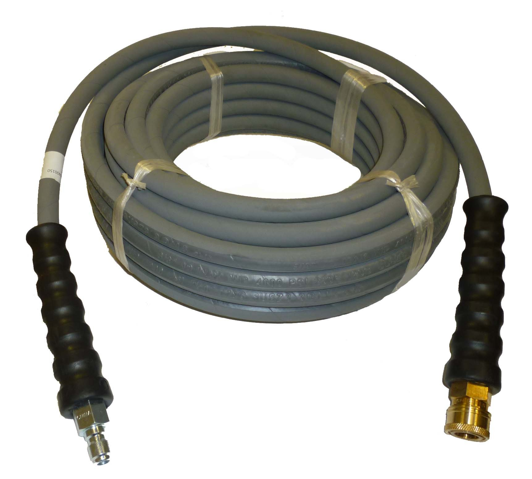 4000 PSI Grey 3/8'' x 50 FT 1 Layers of High Tensile Wire Braided Rubber Wrapped Pressure Washer Hose with Couplers