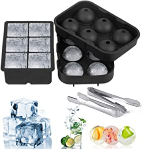 Food-grade silicone ice box, containing square and round molds, comes with ice tongs. Used in cocktail and whiskey ice cube molds, reusable and BPA-free…