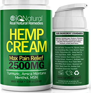 Hemp Cream for Pain Relief - Natural Hemp Oil Extract Lotion for Joint & Muscle Pain - Extra Strength Hemp Cream Topical Salve | Arnica Cream 3.4 oz