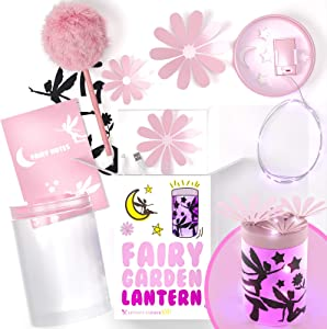 Uptown Farmer Kids: Crafts for Girls Age 8 - Fairy Garden Kit w LED Lantern Lights - Great Gift for 8 Year Old Girl - Arts and Craft Kits for Girls