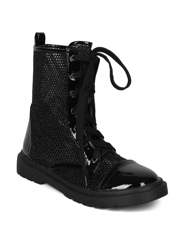 Alrisco Women Glitter Mesh Capped Toe Lace up Combat Boot HH99 - Black Mix Media (Size: 9.0)