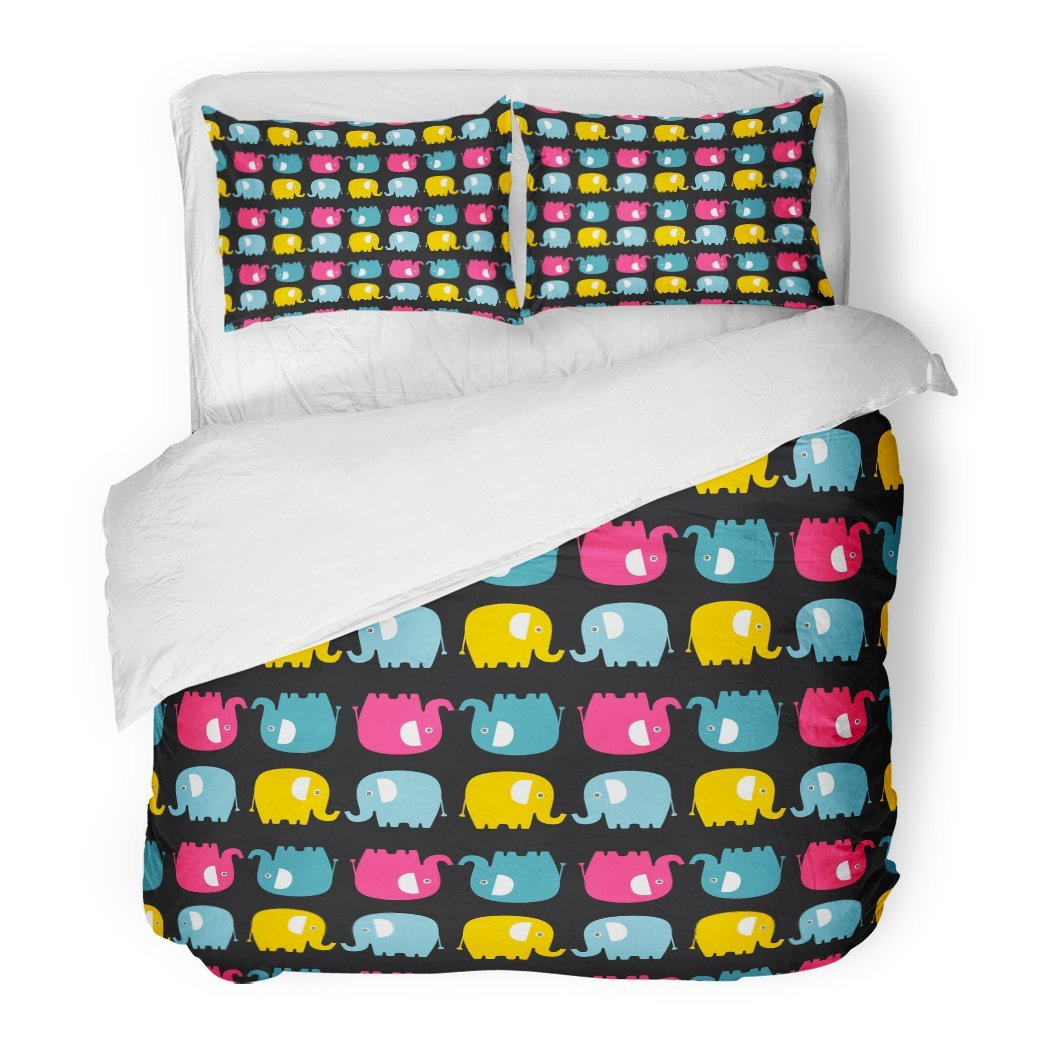 SanChic Duvet Cover Set Cute Flat Elephant Fun Color Silhouette Sweet Babies Children Bright Animals Yellow Pink Decorative Bedding Set Pillow Sham Twin Size by SanChic (Image #1)