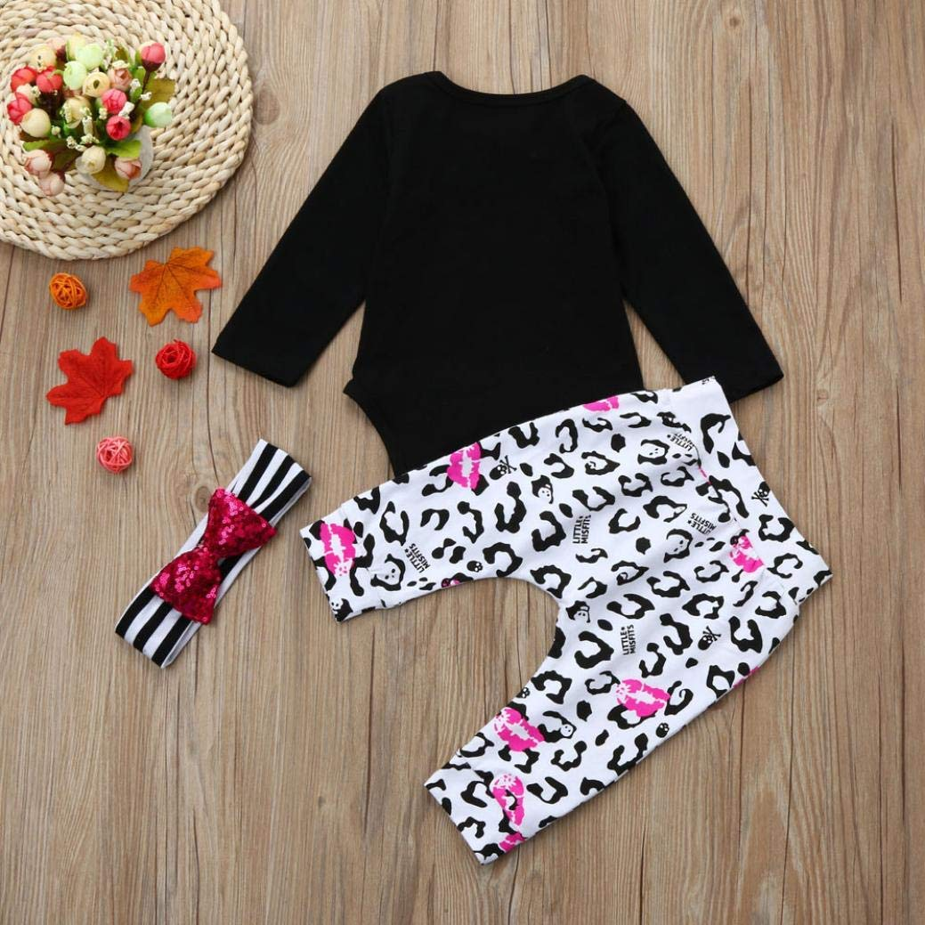New Newborn Infant Baby Girls Fall Winter Clothes Outfit Set 0-18 Months 3Pcs Skull Floral Romper Tops Pants Headband