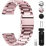 Fullmosa Quick Release Watch band, Stainless Steel Watch strap 16mm, 18mm, 20mm, 22mm or 24mm, 16mm Rose Gold