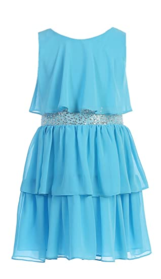 c5cc6b9ad160 Sweet Kids Little Girls' Sequin Belted Chiffon Dress 6 Turquoise Sk 401:  Amazon.in: Clothing & Accessories
