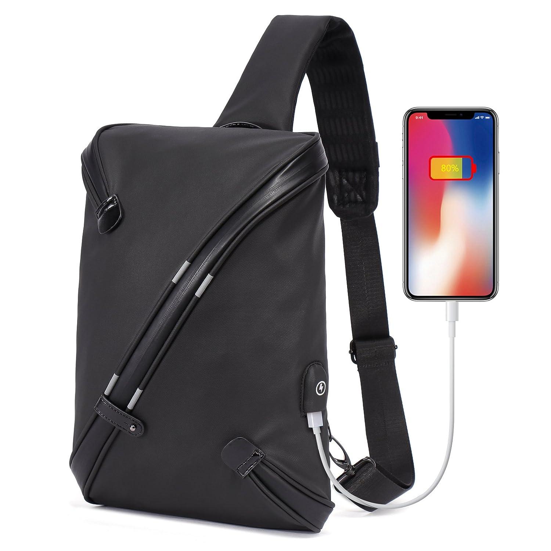 Black TG-1786X GOHIGH Sling Bag Backpack Crossbody Daypack Casual PU Backpack Chest Bag Rucksack for Men Women Outdoor Cycling Hiking Travel