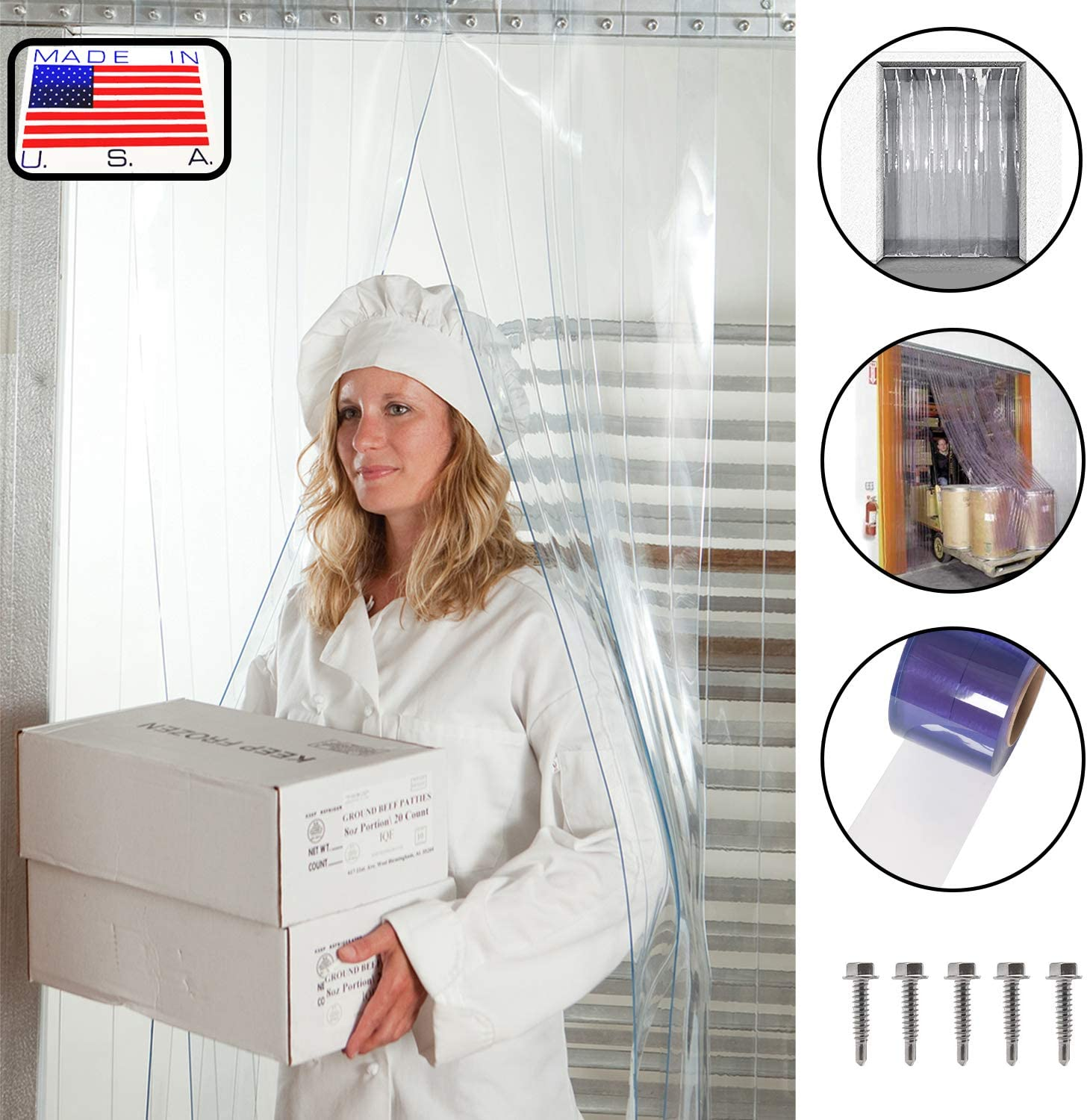 4 ft strips with 50/% overlap height width X 90 in. Hardware included 7ft 6 in Ribbed Anti Scratch Standard 8 in Strip-Curtains.com: Strip Door Curtain 48 in. common door kit