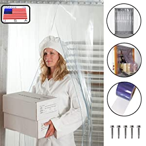 Strip-Curtains.com: Strip Door Curtain - 72 in. (6 ft) width X 84 in. (7 ft) height - Standard smooth 8 in. strips with 50% overlap - common door kit (Hardware included)