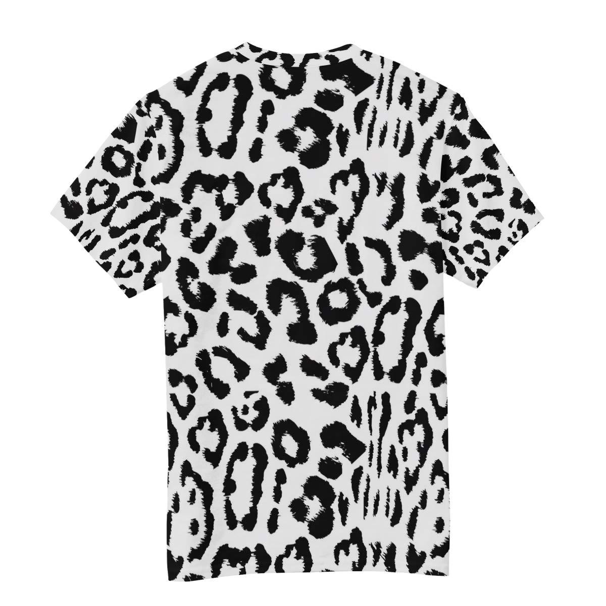 Horatiood Huberyyd Black Leopard Print Decor Mens T Shirts Graphic Funny Body Print Short T-Shirt Unisex Pullover Blouse