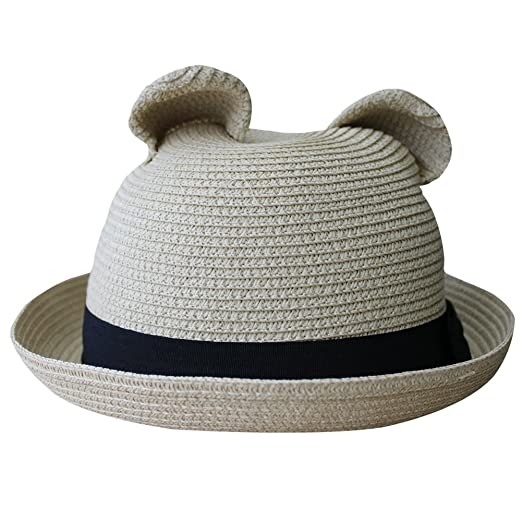5ff671c8028 Image Unavailable. Image not available for. Color  Women s Cute Cat Ear  Round Top Bowler Straw Sun UV Summer Beach Roll-up Hat