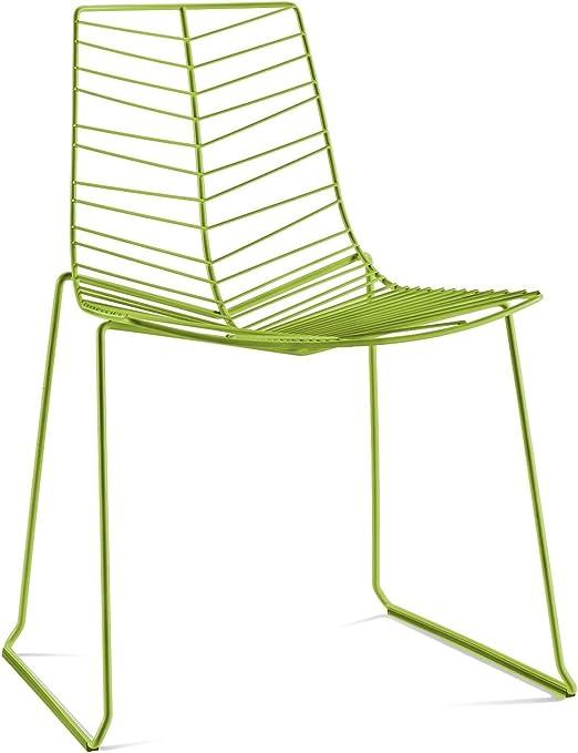 ARPER Leaf Sedia impilabile, Acciaio, verde, Standard