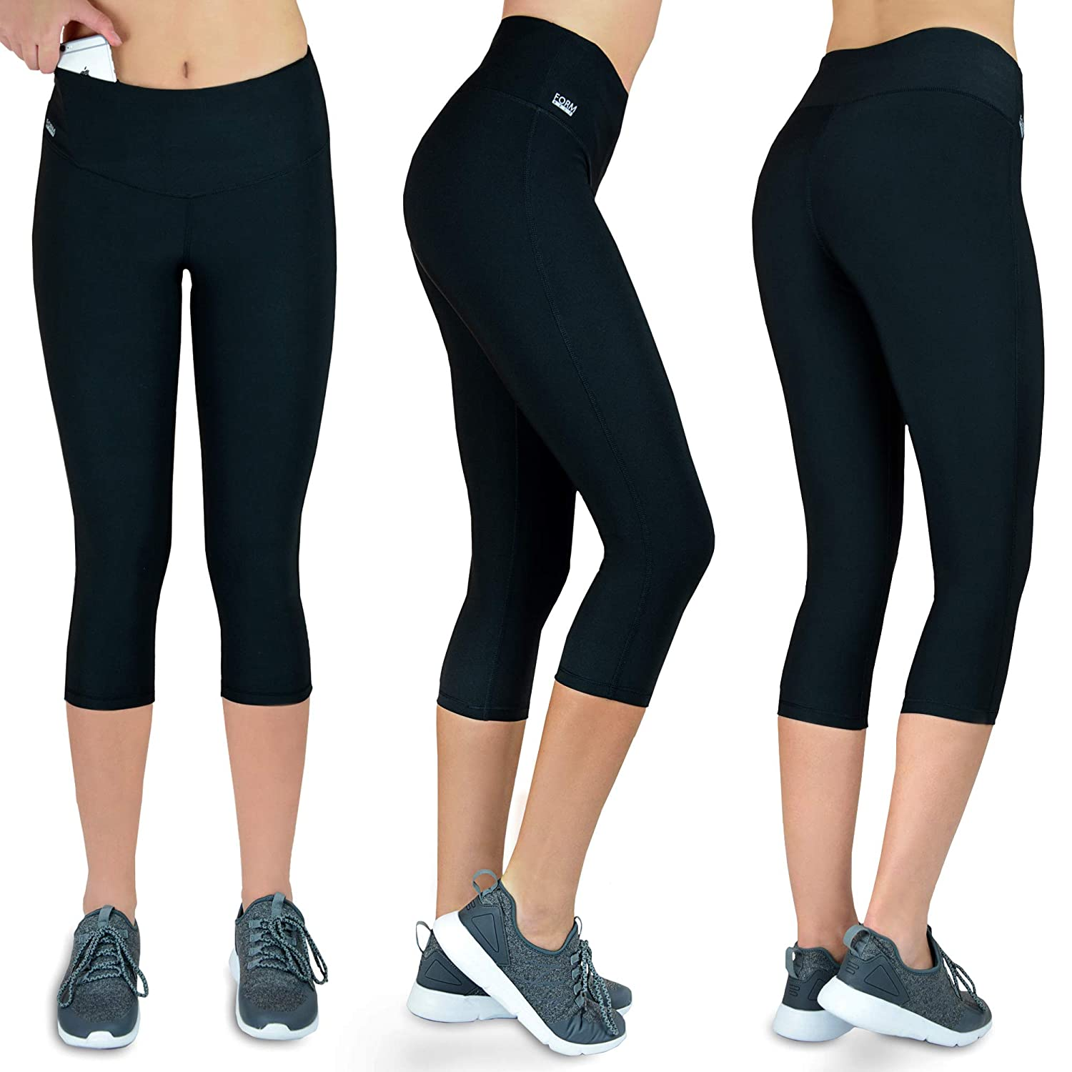 601f4a9dd02ab Formbelt Women Running Capri 3/4 Tights with Waist-Pocket for Smartphone  Iphone Mobile Key Credit Cards/Sports Leggings Integrated Belt – Fitness,  ...