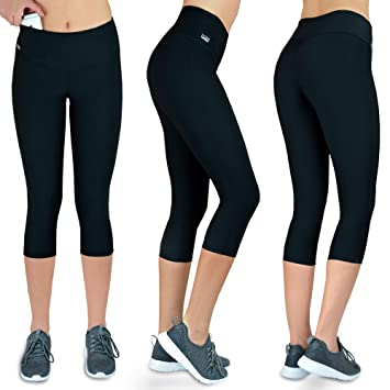 4246b1442f9ff Formbelt Women Running Capri 3/4 Tights with Waist-Pocket for Smartphone  Iphone Mobile Key Credit Cards/Sports Leggings Integrated Belt – Fitness,  ...